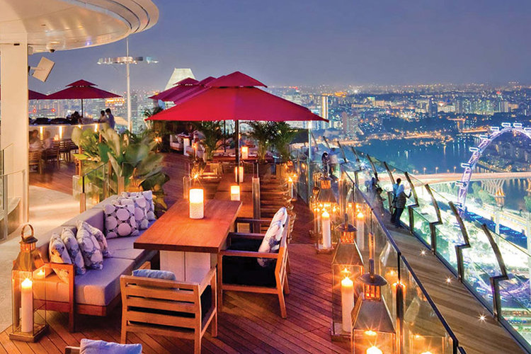 Ce La Vi, on the rooftop of the Marina Bay Sands hotel in Singapore, offers luxury dining.